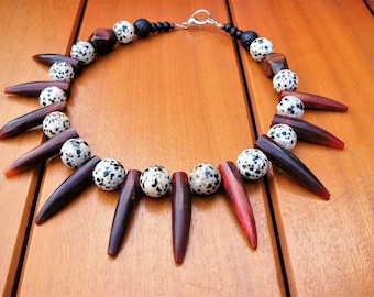 Tribal Bead Necklace Ethnic Spiked Choker Bone Necklace Semi Precious Stones Statement Necklace Jasper Stone Beaded Necklace African Choker