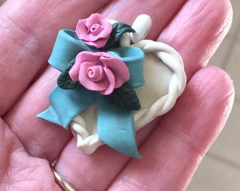 Handmade Heart Necklace/Pendant/Christmas Gift/For Her/Roses/Victorian Necklace/White/Teal/Pink