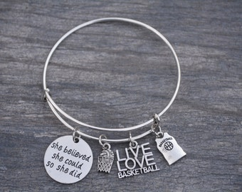 Basketball Gift -Basketball Bracelet – Basketball Player Gift -  Perfect for Basketball Players, Basketball Coaches & Team Gifts