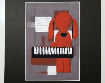 Piano Dog Art Print with mat