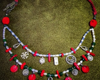 Necklace %100 handmade with natural stones and silver.