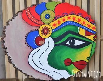 Kathalakali Painting on Basswood slice/ Indian folk art painting/ Indian face mask painting/ Custom basswood slice/ gift ideas