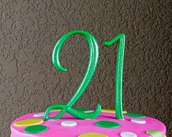 Monogram Number 21 Cake Topper by Elegant Cakery
