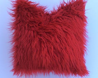 Red Faux Fur Pillow Throw cover - Toss Pillow - Decorative Pillow-by Pillow Galorie