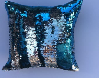 Turquoise and Silver Mermaid Reversible Pillow Cover - Throw Pillow