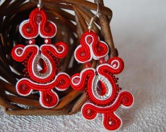 Red, red earrings, earrings soutache soutache earrings