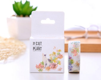 Cat And  Flora  Japanese Washi Tape— Masking Tape,Decorative Tape, Planner Sticker, Journal, Cat,Floral Washi Tape,Adhesive Tape,15mm*10m