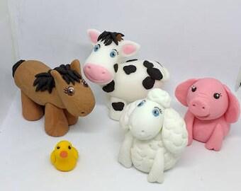 Farm animals cake topper set, handmade and fully edible