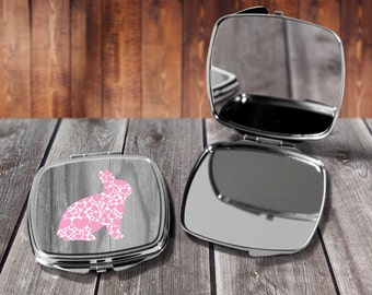 Pink Floral Rabbit Compact mirror, Make up mirror, Pocket mirror, Hand Mirror, Purse Mirror, Birthday gift, Gift for her