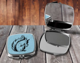 Squirrel Compact mirror, Make up mirror, Pocket mirror, Hand Mirror, Purse Mirror, Birthday gift, Gift for her