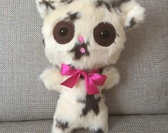 Ugly Cute Teddy Bear OOAK Plush Handmade Toys Creepy Cute Star Print Girlfriend Gift Weird Stuffed Animal Funny Ornament Adult Toys