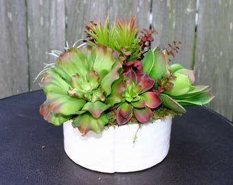 Succulent Arrangement, White Ceramic Planter Faux Succulent Arrangement, Home Decor, Centerpiece, Gifts, Succulent Planter, Summer Decor