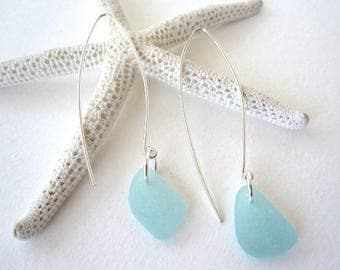 Sea Glass Dangle Earrings, Genuine Beach Glass Earrings, Sterling Silver and Sea Glass Earrings,Sea Glass Drop Earrings, Bridesmaid Gift
