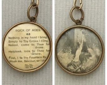 Vintage Christian Pendant Rock of Ages