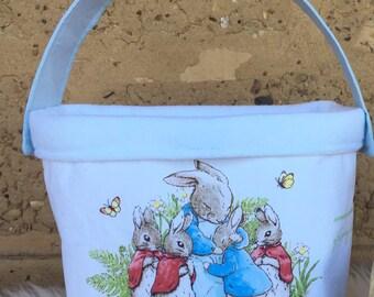 Peter Rabbit basket - Easter basket - Easter egg basket - Easter egg hunt basket - Fabric basket - basket with handle - Easter gift - Kids