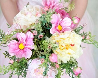 Pink Yellow Peony and Wildflower Bouquet, Peony Bouquet, Silk Flower Bridal Bouquet, Wedding Flowers, Spring Bouquet, Wildflower Bouquet