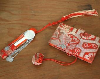 """SALE Vintage Kimono Accessory """" Hakoseko """" , Small Kimono wallet, Kanzashi, Small pouch, Vintage Japanese pouch, Vintage Japanese hair pin,"""