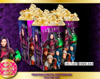 Descendants  Digital  Printable popcorn box, Custom Party,Descendant ,Birthday,Party, Supply, Kit, Pack, Custom
