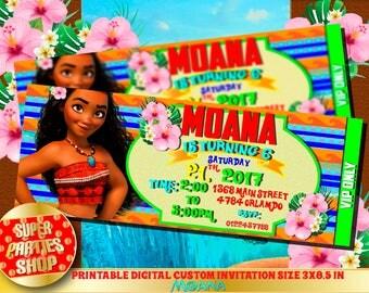 Moana  Digital personalized invitation,Ticket,VIP invite, Hawaiian party,Moana invita ,Moana  Party Moana Birthday,Moana,maui