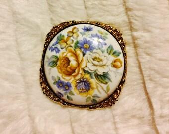 Vintage large porcelain pendant with flower design
