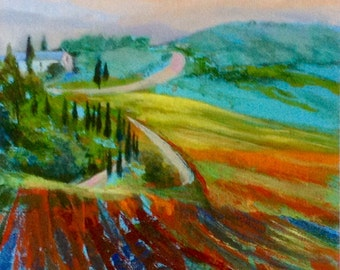 Toscana Landscape GICLEE Art Print or Stretched Canvas, Painting, Tuscany, Mixed Media, Multi-Coloured, Bright, Living Room Wall Art Decor