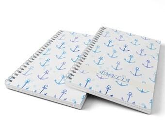 Anchors Notebook.  Hard Cover Spiral Notebook. Notepad. Journal.