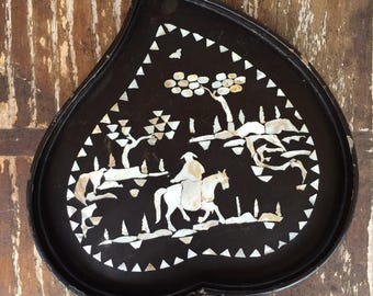 Authentic Vintage 1970's Chinese Mother of Pearl Inlay Heart Tray