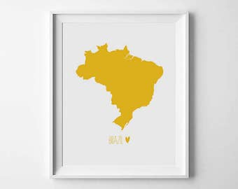 Printable Art, World Map Print, Yellow, Map Poster, Brazil, Country home decor, Travel decor, map printable, Digital print, Instant Download