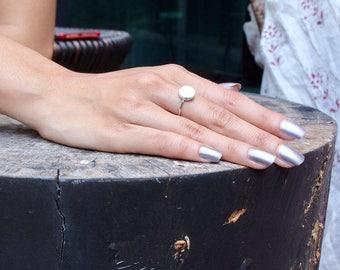 Full Moon White Marble Ring/Toe Ring, RhodiumRings, Howlite Marble Ring, Elegant Ring, Bridesmaid Jewelry, Geometric Ring, Gift Ring (SR23)