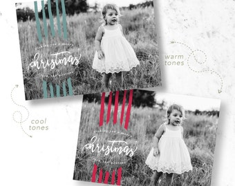 Striped Christmas Holiday Photo Cards