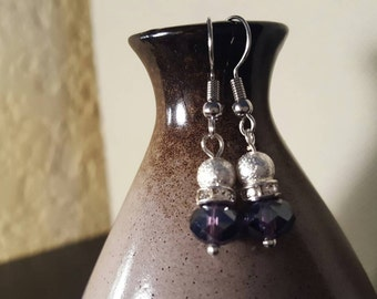 Very pretty purple and silver dangle earrings.