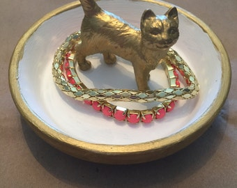 Gold Cat Jewelry Holder