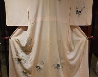 Shoken Silk Summer Homongi Kimono - Golden Shaded Chrysanthemum on Pink