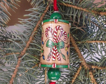 Woodburned Spool Ornament/Hanging Xmas Tree Ornament/Wood XMas Ornament/Peppermint Candy Canes/Xmas Lights/Sparkly Presents/Handmade in CO