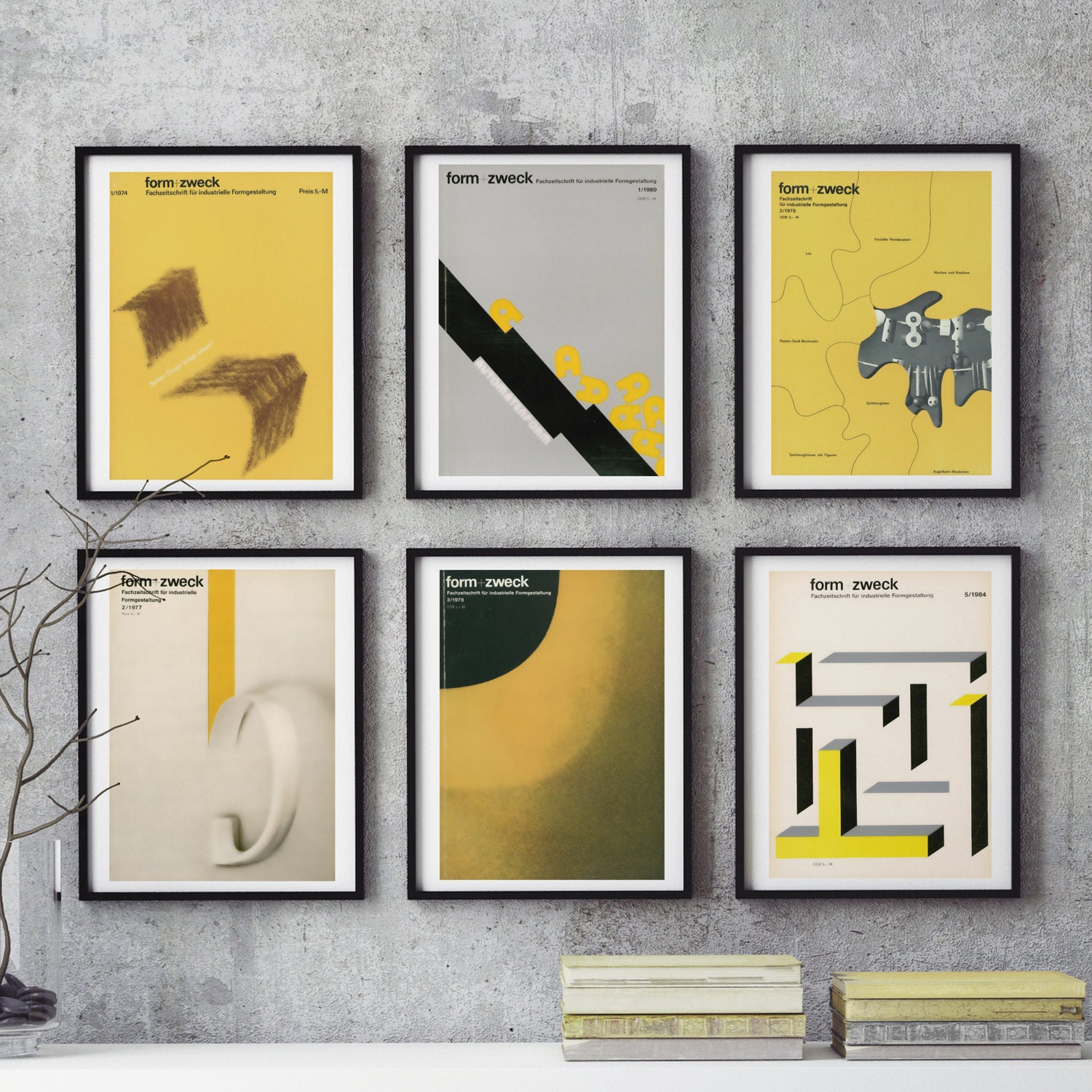 Mid Century Bauhaus Home Decor 6 Piece Wall Art East German Graphic Design YELLOWS Form Zweck Print Industrial Magazine Unique Gift