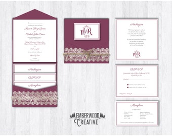 Rustic inspired Wedding Invitations