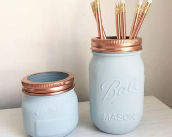 Duck egg Blue & Copper Set of 2 - Stationery Organiser - Makeup storage