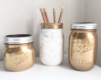Gold and marble mason ball jar set