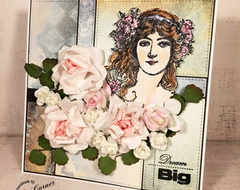 Hand made, map, for a woman, rose, pastel colors