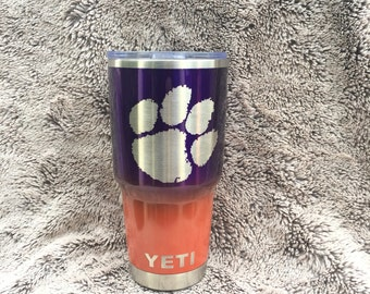 Custom Clemson Tigers Yeti 30 oz Rambler Cup Powder Coated Candy Purple and Orange