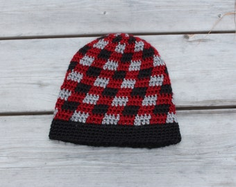 Handmade crochet toddler slouchy toque. Red, Black and grey plaid