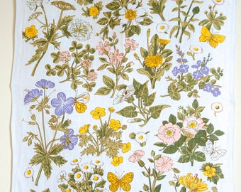 """TEA TOWEL """"Wild Flowers"""" by Pat Albeck designed for The National Trust in the UK. Irish Linen, made in Ireland. Spring flowers, springtime"""