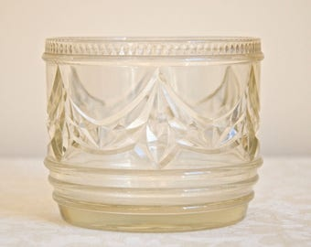 Vintage GLASS VASE or PLANTER with beautiful pattern - Mid Century retro