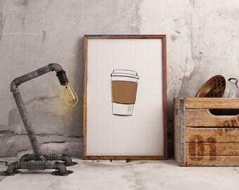 Digital download printable art whimsical cup of coffee print