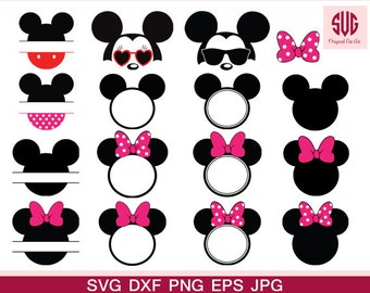 Mickey Head SVG Files-Minnie Head Monogram Svg - Mouse Monogram Svg Mickey Head Svg Frame SVG DXF Silhouette Studio Png Eps Pdf Jpg Ai Cdr