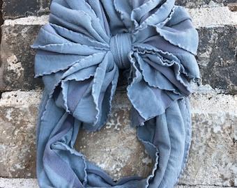 Gray Ruffle Messy Bow Headband