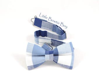 Blue/Navy Plaid Bow tie,  lightweight cotton blue bow tie, Blue bow tie with plaid pattern, toddler boy bow ties, plaid cotton baby bow tie