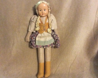 Composition Cloth French Souvenit Doll 1930-40s
