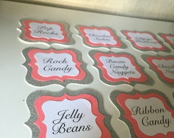 Coral and silver candy labels