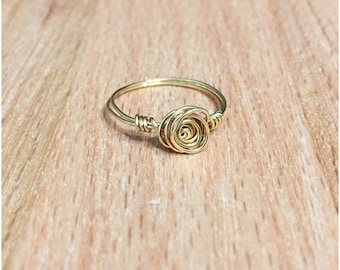 Rose Wire Wrapped Ring, Gold Rose Ring,  tarnish resistant wire ring, Gold Wire Ring, Rose Wire Ring, Rose Ring, Gold Rose Wire Ring